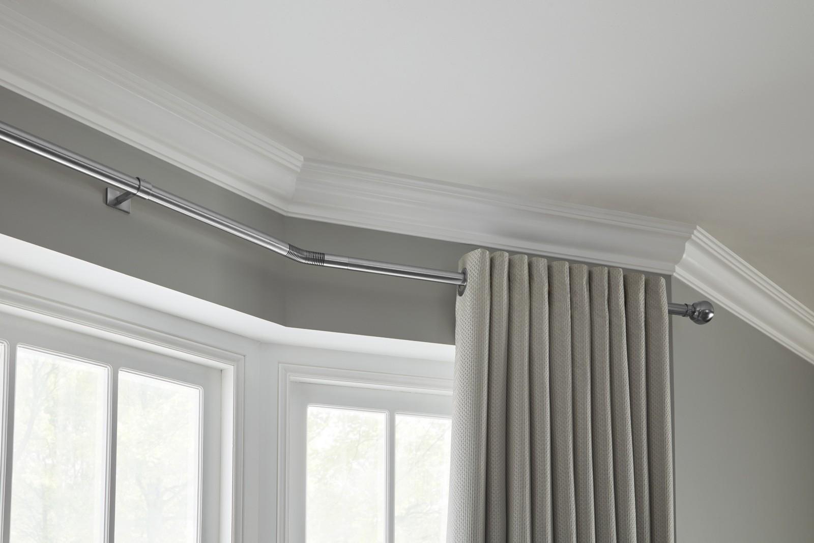 Eyelet curtains on bay window curtain pole