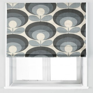 Orla Kiely Seventies Flower Oval Fabric Cool Grey