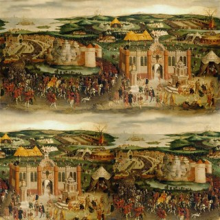 Cloth of Gold Panel Wallpaper PRC668/01 by The Royal Collection