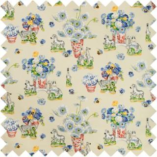 Gillian S Zebras Linen And Cotton Print Fabric BR-79653.1 by Brunschwig & Fils