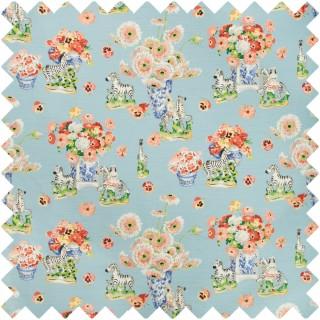 Gillian S Zebras Linen And Cotton Print Fabric BR-79653.15 by Brunschwig & Fils