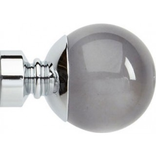 Rolls Neo Premium 28mm Smoke Grey Ball Chrome Effect Crystal Finials (Pair)