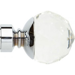 Rolls Neo Premium 28mm Clear Faceted Ball Chrome Effect Crystal Finials (Pair)