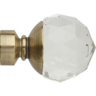 Rolls Neo Premium 28mm Clear Faceted Ball Spun Brass Effect Crystal Finials (Pair)