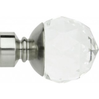 Rolls Neo Premium 28mm Clear Faceted Ball Stainless Steel Effect Crystal Finials (Pair)