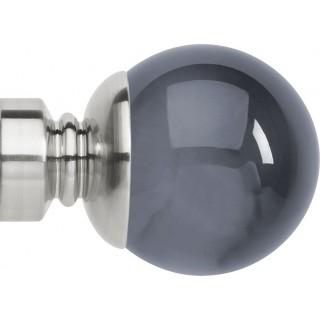 Rolls Neo Premium 35mm Smoke Grey Ball Stainless Steel Effect Crystal Finials (Pair)