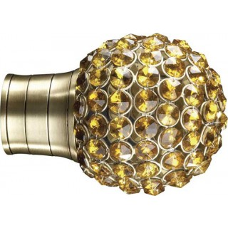 Museum Galleria 50mm Burnished Brass Effect Amber Jewelled Cage Finial (1 pack of 1)