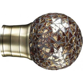 Museum Galleria 50mm Burnished Brass Effect Mozaic Gold Ball Finial (1 pack of 1)