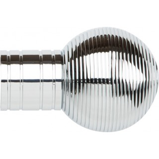 Museum Galleria Metals 50mm Chrome Effect Ribbed Ball Finial (Single)