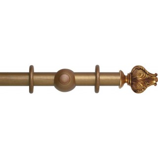 Museum Handcrafted 35mm Red-Gold Effect Wood Curtain Pole