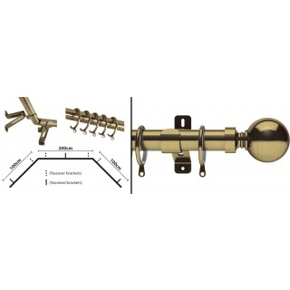 Swish Elements Belgravia Bay Pole Kit 28mm Antique Brass Metal Curtain Pole