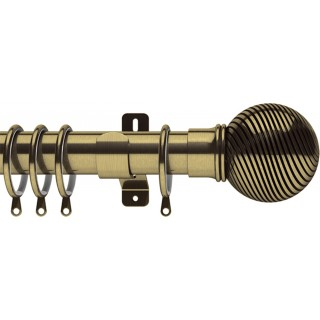 Swish Elements Curzon 35mm Antique Brass Effect Metal Curtain Pole