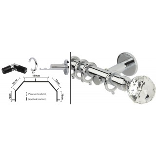 Rolls Neo 5 Sided Bay Curtain Pole Kit 28mm Chrome