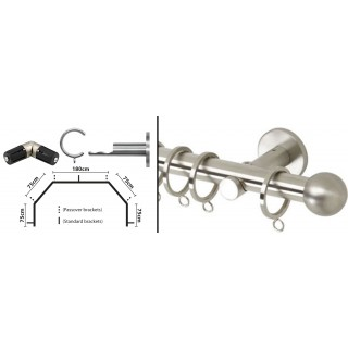 Rolls Neo 5 Sided Bay Curtain Pole Kit 28mm Stainless Steel