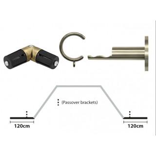 Rolls Neo 19mm 2 x 120cm Spun Brass Effect Bay Pole Return Kit