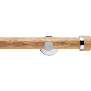 Rolls Neo 35mm Oak Stud Eyelet Curtain Pole Chrome Cylinder Brackets
