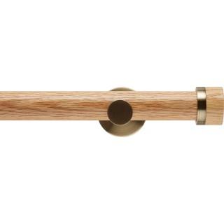 Rolls Neo 35mm Oak Stud Eyelet Curtain Pole Spun Brass Cylinder Brackets
