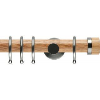 Rolls Neo 35mm Oak Stud Curtain Pole Stainless Steel Cylinder Brackets