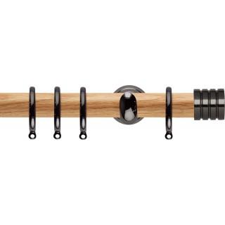 Rolls Neo 28mm Stud Oak Curtain Pole Black Nickel Cup Brackets