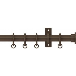 Hallis Hudson Arc 25mm Mocha Plain Disc Metal Fixed Length Curtain Pole