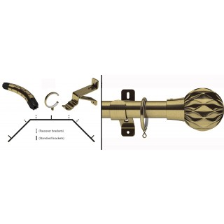 Swish Design Studio Cruzar 35mm Antique Brass Bay Curtain Pole Kit