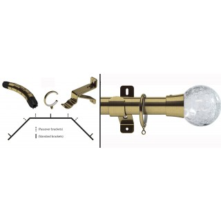 Swish Design Studio Gossamer 28mm Antique Brass Bay Curtain Pole Kit