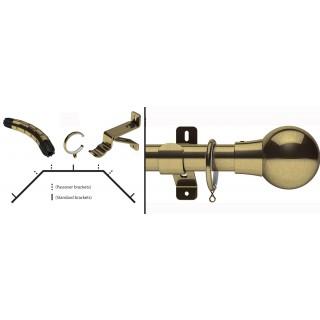 Swish Design Studio Mondiale 35mm Antique Brass Bay Curtain Pole Kit