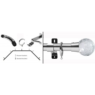 Swish Design Studio Gossamer 35mm Chrome Bay Curtain Pole Kit