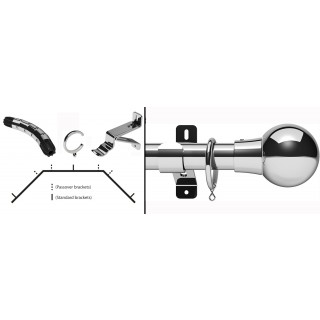 Swish Design Studio Mondiale 35mm Chrome Bay Curtain Pole Kit