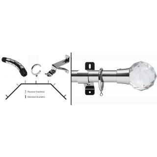 Swish Design Studio Prisma 35mm Chrome Bay Curtain Pole Kit