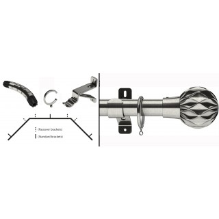 Swish Design Studio Cruzar 35mm Satin Steel Bay Curtain Pole Kit