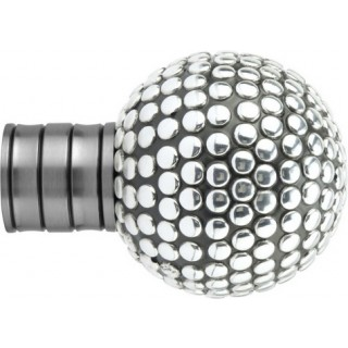 Museum Galleria 35mm Brushed Silver Shiny Studded Ball Finial (1 pack of 1)