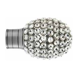 Museum Galleria 35mm Brushed Silver Clear Jewelled Bulb Finial (1 pack of 1)