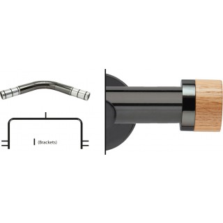 Neo 3 Sided Bay Eyelet Curtain Pole Kit 28mm Black Nickel