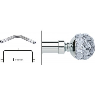 Neo 3 Sided Bay Eyelet Curtain Pole Kit 28mm Chrome