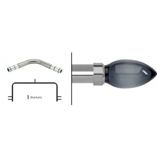 Neo 3 Sided Bay Eyelet Curtain Pole Kit 28mm Stainless Steel
