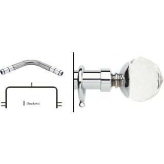 Neo 3 Sided Bay Curtain Pole Kit 28mm Chrome