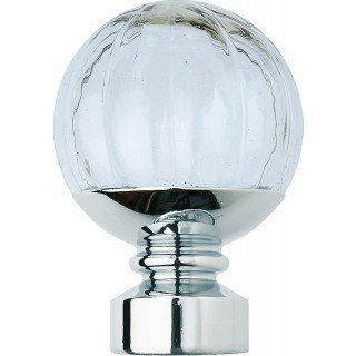 Rolls Neo Style 28mm Clear Pumpkin Chrome Ball Finials (Pair)