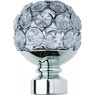 Rolls Neo Style 28mm Clear Jewelled Chrome Ball Finials (Pair)