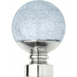 Rolls Neo Style 28mm Crackled Glass Stainless Steel Ball Finials (Pair)