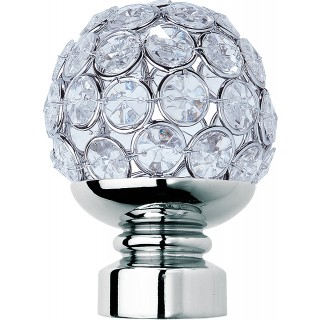 Rolls Neo Style 35mm Clear Jewelled Chrome Ball Finials (Pair)