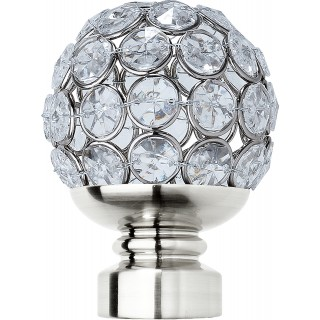 Rolls Neo Style 35mm Clear Jewelled Stainless Steel Ball Finials (Pair)