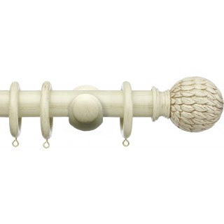 Integra Masterpiece 50mm Distressed Cream Effect Wood Curtain Pole