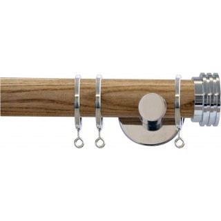 Jones Strand 35mm Light Oak Effect Wooden Curtain Pole