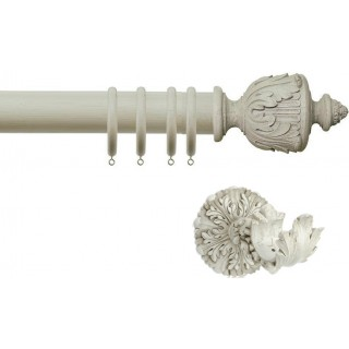Jones Florentine Acanthus 50mm Putty Effect Wood Curtain Pole