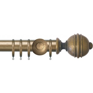 Jones Florentine Plain 50mm Antique Gold Effect Wood Curtain Pole