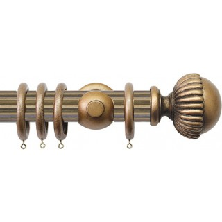 Jones Florentine Fluted 50mm Antique Gold Wood Curtain Pole