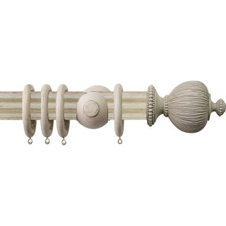 Jones Florentine Fluted 50mm Putty Wood Curtain Pole