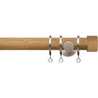Jones Lunar 28mm Real Oak Curtain Pole Matt Nickel Fittings