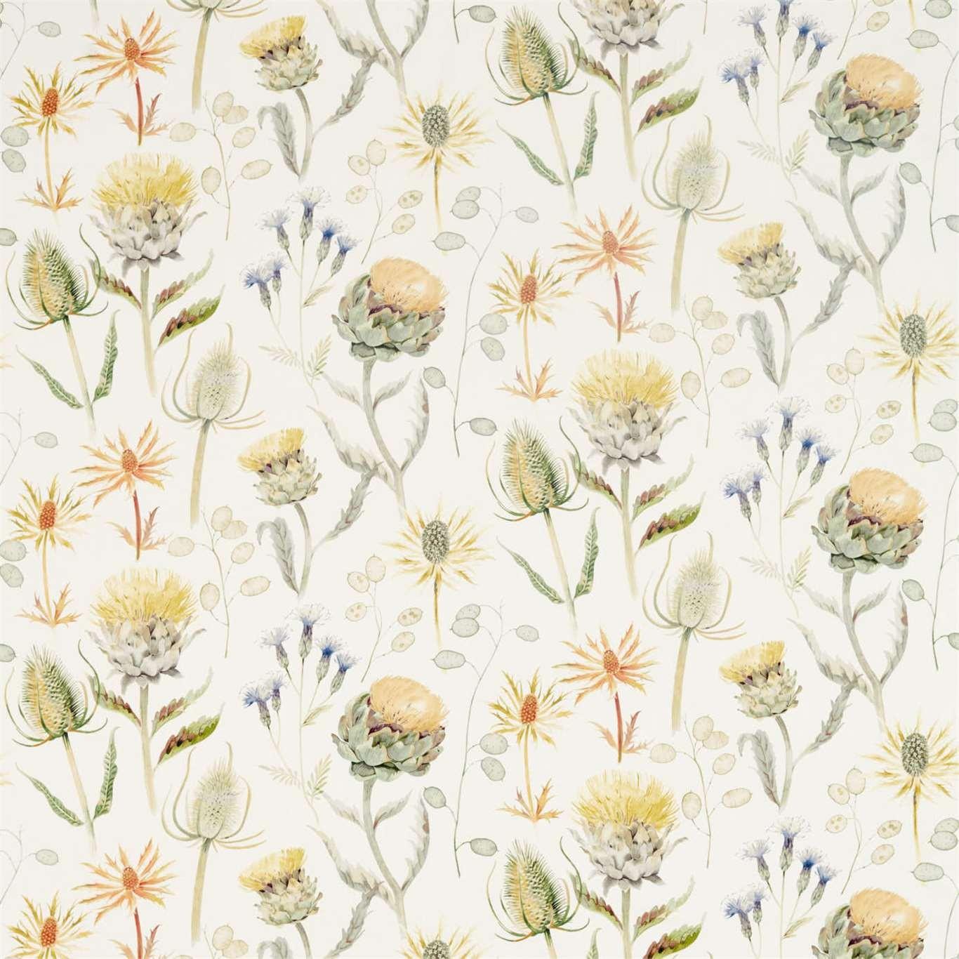 Sanderson Thistle Garden 226422 Fabric Ochre Olive